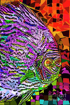 Poster featuring the photograph Tropical Fish Discus In Abstract 20170325v3 by Wingsdomain Art and Photography
