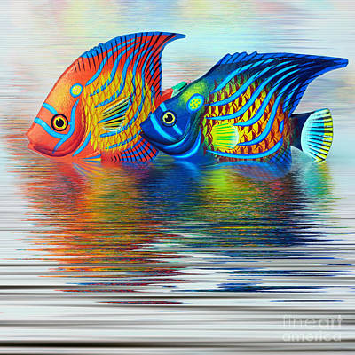 Tropical Fish Reflecting By Kaye Menner Poster by Kaye Menner
