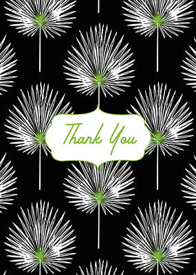 Tropical Leaf Thank You Black- Art By Linda Woods Poster