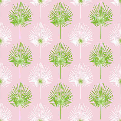 Tropical Leaves On Pink 2- Art By Linda Woods Poster by Linda Woods