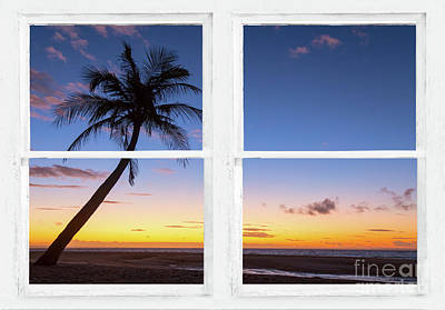 Tropical Paradise Colorful Sunset Whitewash Window View Poster by James BO Insogna