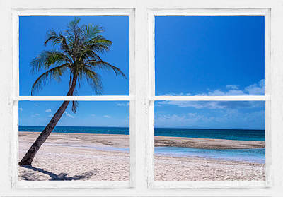 Tropical Paradise Whitewash Picture Window View Poster