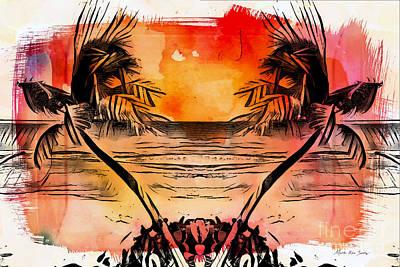 Poster featuring the digital art Tropical Seascape Digital Art C7717 by Mas Art Studio
