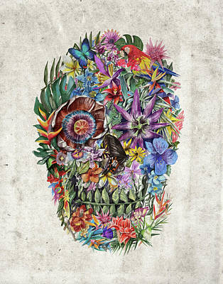 Tropical Skull Poster by Bekim Art