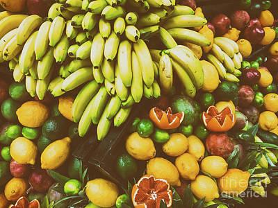 Tropical Summer Fruits In Fruit Market Poster by Radu Bercan