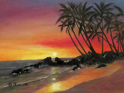 Poster featuring the painting Tropical Sunset by Roseann Gilmore