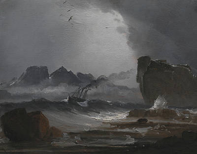 Troubled Sea With A Steamer Near The Norwegian Coast Poster