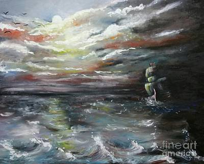 Poster featuring the painting Troubled Waters Complete by Isabella F Abbie Shores FRSA