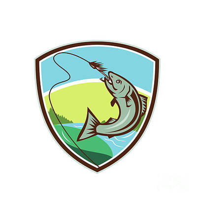 Trout Biting Hook Lure Shield Retro Poster