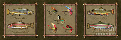 Trout Fly Panel Poster by Jon Q Wright