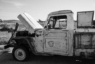 Truck With Hood Up On Route 66 Poster