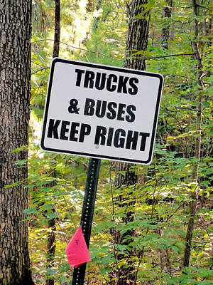 Trucks And Buses Keep Right Poster by Lanjee Chee
