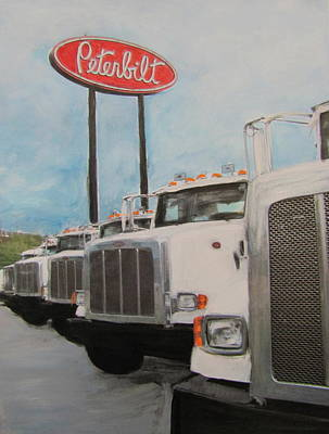 Trucks And Peterbilt Sign Poster by Anita Burgermeister