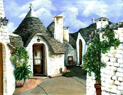 Poster featuring the painting Trulli by Sarah Farren