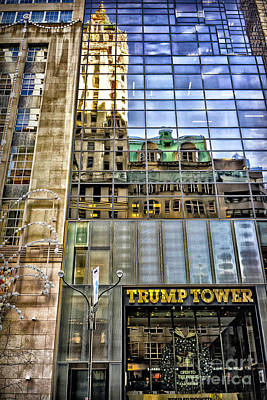 Poster featuring the photograph Trump Tower With Reflections by Walt Foegelle