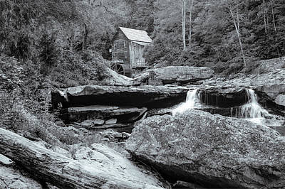 Tucked Away - Black And White Old Mill Photography Poster