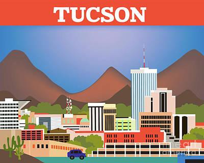 Tucson Arizona Horizontal Skyline Poster