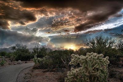 Poster featuring the photograph Tucson Mountain Sunset by Lynn Geoffroy