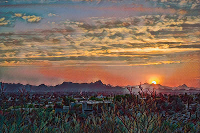 Poster featuring the photograph Tucson Sunset Remix by Dan McManus