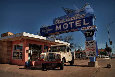 Poster featuring the photograph Tucumcari - Blue Swallow Motel 001 by Lance Vaughn