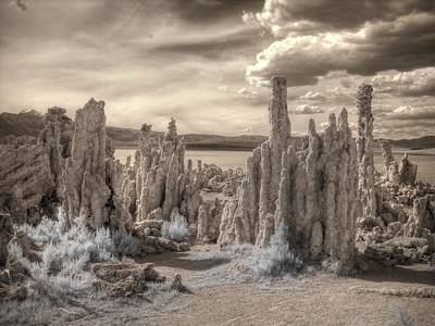Tufa Mono Lake California Infrared Surreal Sepia Poster by Jane Linders