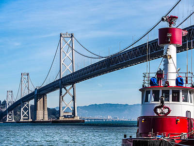 Tug Boat By The Bay Bridge Poster