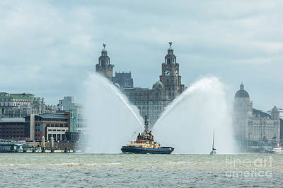 Tug Boat Fountain Poster