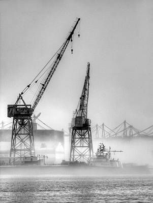 Tug With Cranes Poster by Joe Schofield