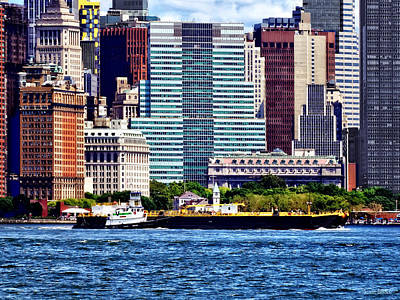 Tugboat Pushing Barge Near Manhattan Skyline Poster