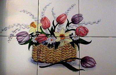 Tulip Basket Poster by Dy Witt