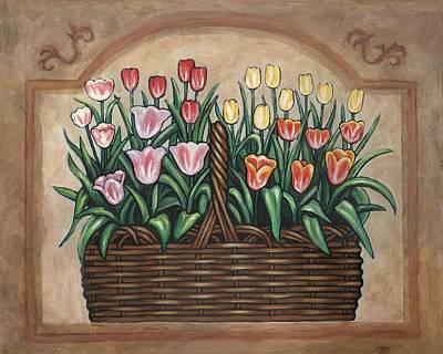 Tulip Basket Poster by Linda Mears