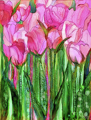 Poster featuring the mixed media Tulip Bloomies 1 - Pink by Carol Cavalaris