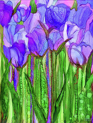 Poster featuring the mixed media Tulip Bloomies 1 - Purple by Carol Cavalaris