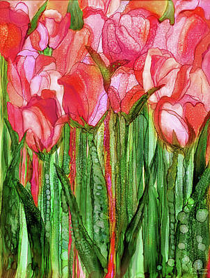 Poster featuring the mixed media Tulip Bloomies 1 - Red by Carol Cavalaris