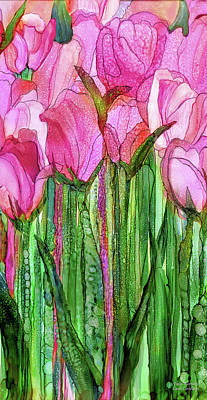 Poster featuring the mixed media Tulip Bloomies 2 - Pink by Carol Cavalaris