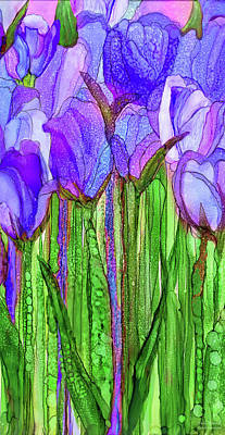 Poster featuring the mixed media Tulip Bloomies 2 - Purple by Carol Cavalaris