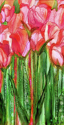 Poster featuring the mixed media Tulip Bloomies 2 - Red by Carol Cavalaris
