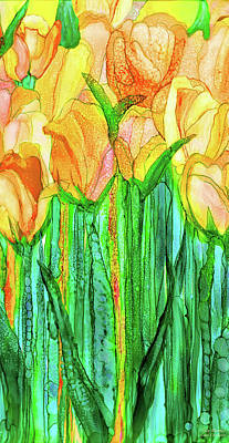 Poster featuring the mixed media Tulip Bloomies 2 - Yellow by Carol Cavalaris