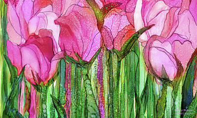 Poster featuring the mixed media Tulip Bloomies 3 - Pink by Carol Cavalaris