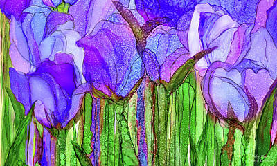 Poster featuring the mixed media Tulip Bloomies 3 - Purple by Carol Cavalaris