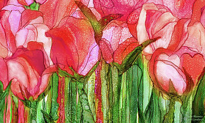 Poster featuring the mixed media Tulip Bloomies 3 - Red by Carol Cavalaris