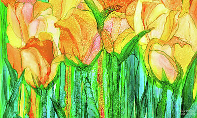 Poster featuring the mixed media Tulip Bloomies 3 - Yellow by Carol Cavalaris