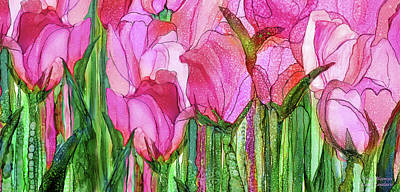Poster featuring the mixed media Tulip Bloomies 4 - Pink by Carol Cavalaris