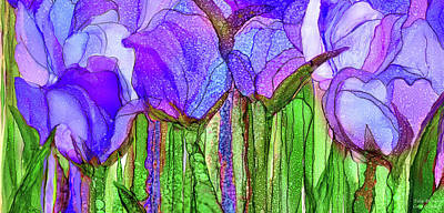 Poster featuring the mixed media Tulip Bloomies 4 - Purple by Carol Cavalaris
