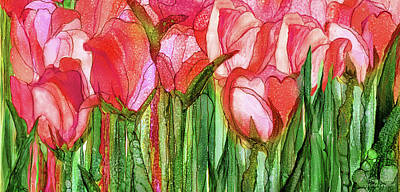 Poster featuring the mixed media Tulip Bloomies 4 - Red by Carol Cavalaris