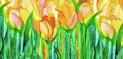 Poster featuring the mixed media Tulip Bloomies 4 - Yellow by Carol Cavalaris