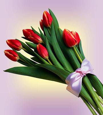 Tulip Bouquet With Ribbon  Poster