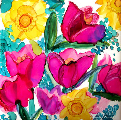 Tulips And Daffodils  Poster by Jeanette Skeem
