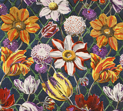Tulips And Dahlias Poster by Harry Wearne