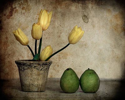 Tulips And Green Pears Poster